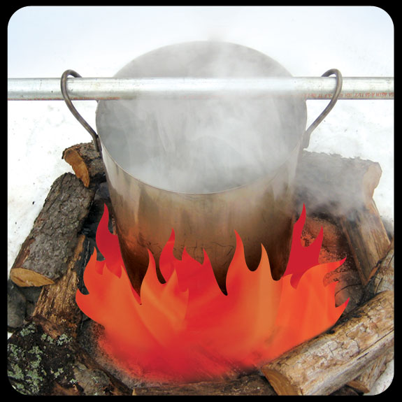 Boiling Maple Sap Over a Camp Fire