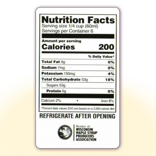 Nutrition Facts for 12 oz bottles