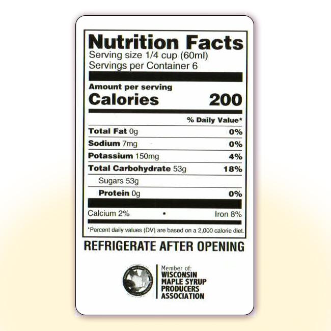 Nutrition Facts for 12 oz bottles