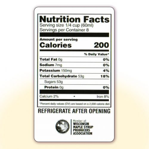 Nutrition Facts for 16 oz bottles