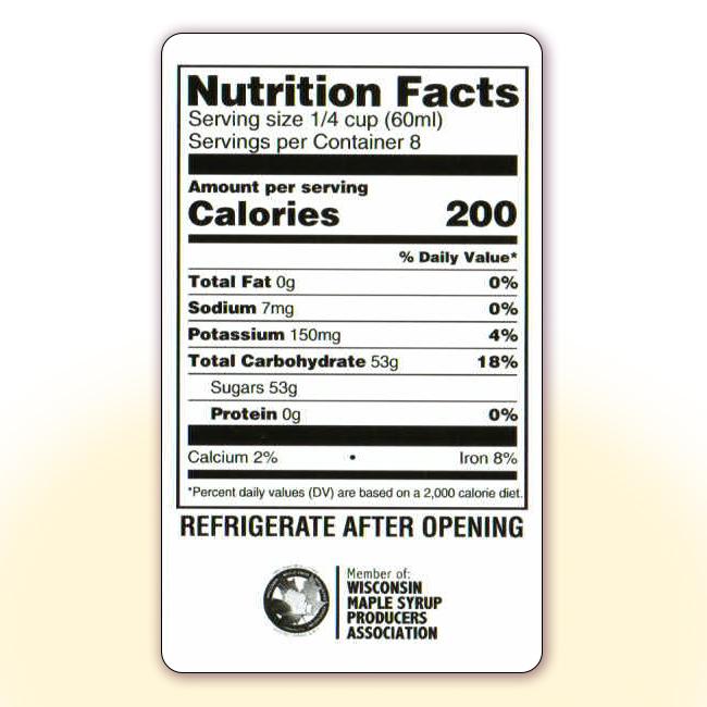 Nutrition Facts for 16 oz bottles