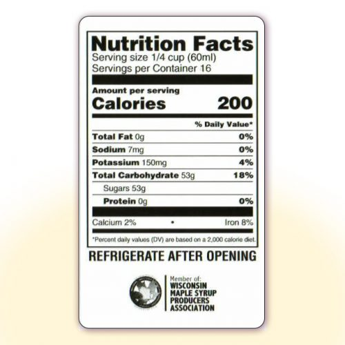Nutrition Facts for 32 oz bottles