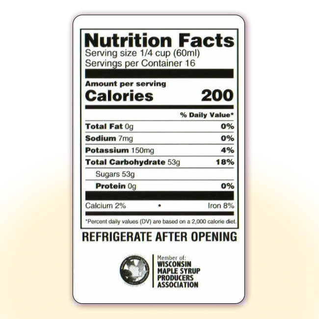 Maple Syrup Nutrition Facts Labels