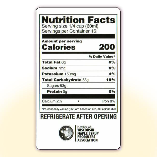 Nutrition Facts for 32 oz bottles
