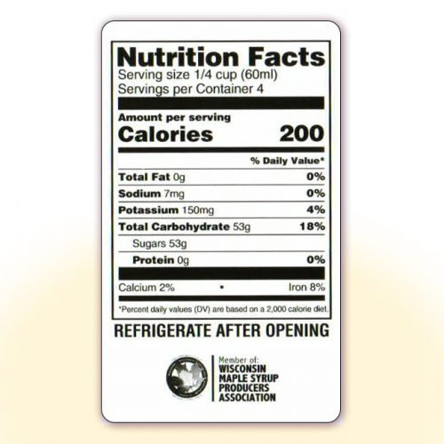 Nutrition Facts for 8 oz bottles