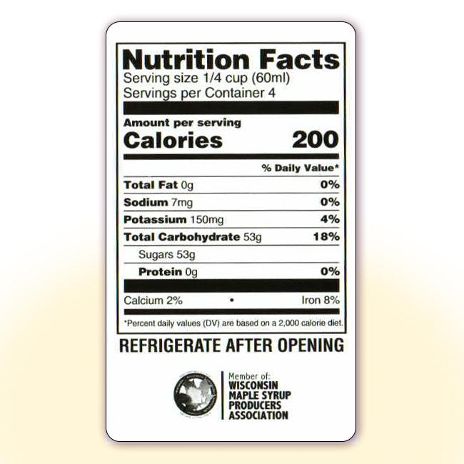 Nutrition Facts for 8 oz bottles