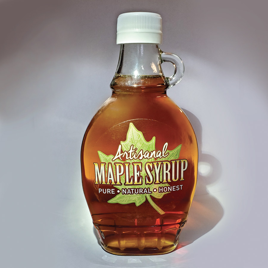 Clear Artisanal Maple Syrup Label Shown on an 8 oz Bottle