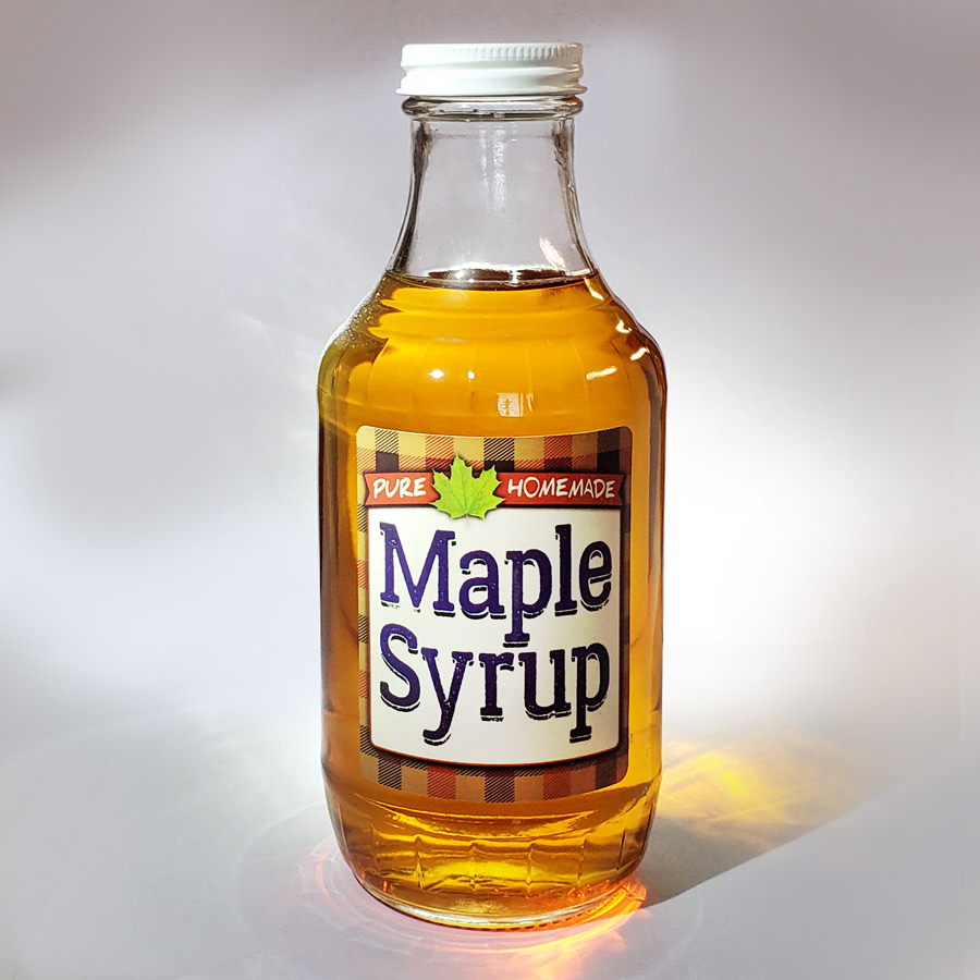Homemade Maple Syrup Label Shown on a 16 oz Bottle