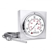 """Stack Temperature Thermometer with Mount - 6"""" Dial"""